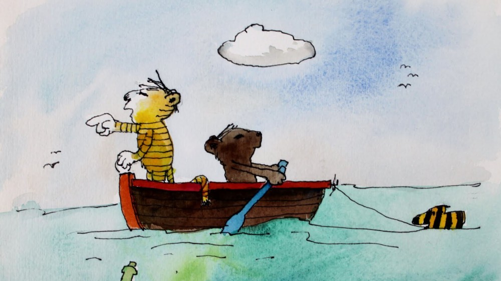 El tigre y su amigo oso  en altamar.